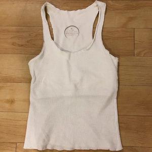 Hyde Yoga White Organic Cotton Tank w/ Shelf Bra